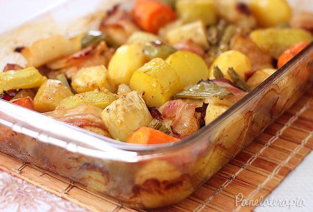 Como assar batata e legumes