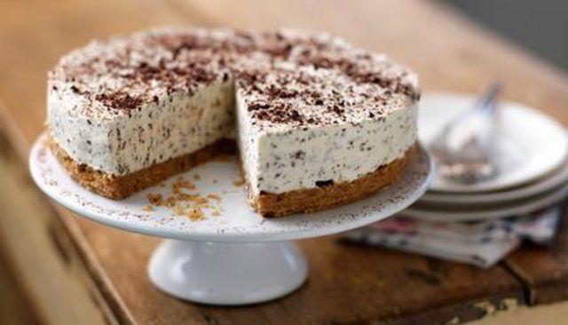 Creme irlandês e cheesecake de chocolate