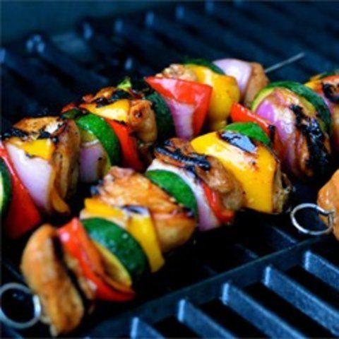 Kebabs de frango com mel
