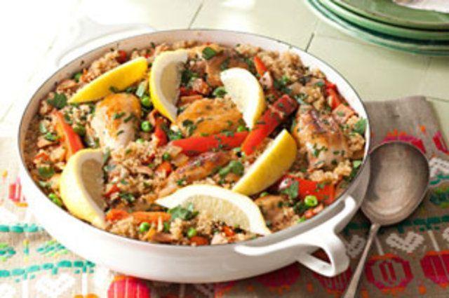 Paella de quinoa e frango