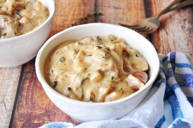 Mix cremoso de batata com salsicha