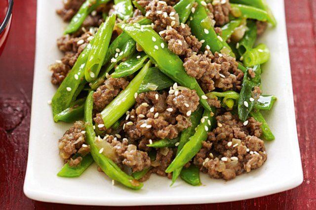 Carne moída com vagens e mollho teriyaki