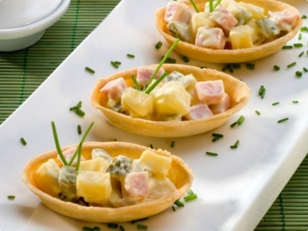 Barquetes de queijo e presunto receitas de comidas for Canapes simples e barato