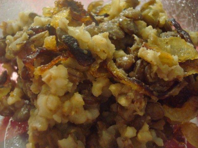 Cebolas doces com lentilhas