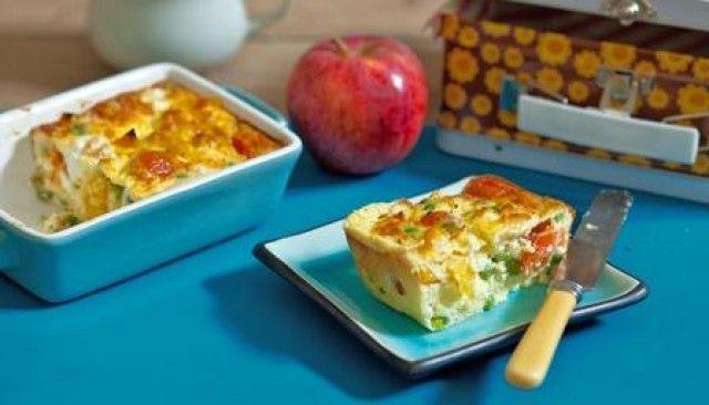 Frittatta de queijo e vegetais para crianças